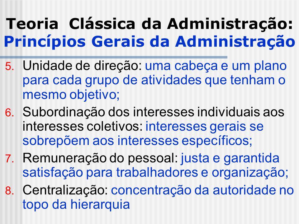 Teoria Clássica da Administração: Princípios Gerais da Administração 5. Unidade de direção: uma cabeça e um plano para cada grupo de atividades que te