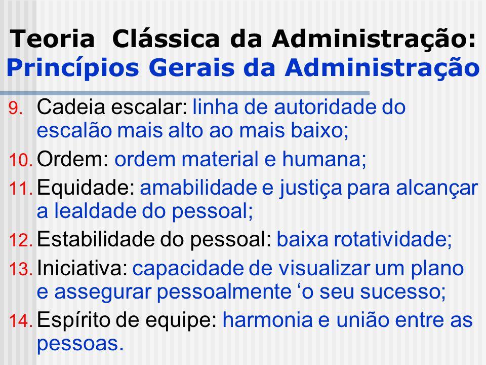 Teoria Clássica da Administração: Princípios Gerais da Administração 9. Cadeia escalar: linha de autoridade do escalão mais alto ao mais baixo; 10. Or