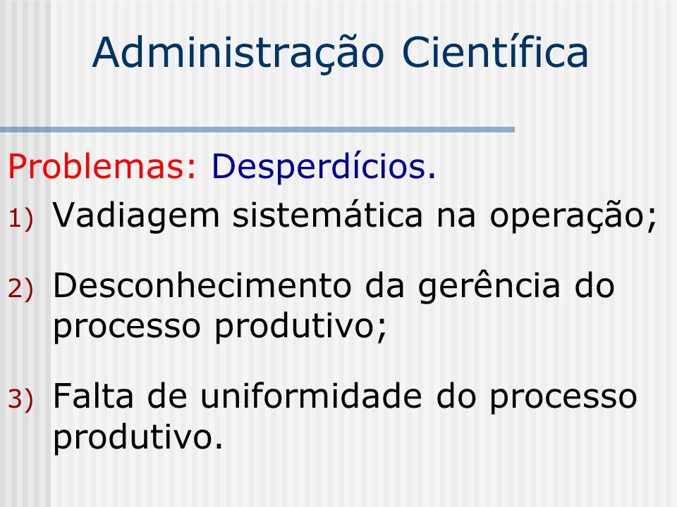 Administração Científica Problemas: Desperdícios. 1) Vadiagem sistemática na operação; 2) Desconhecimento da gerência do processo produtivo; 3) Falta