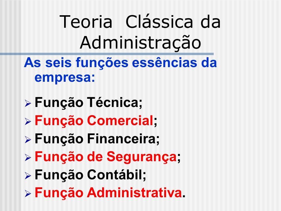 Teoria Clássica da Administração As seis funções essências da empresa: Função Técnica; Função Comercial; Função Financeira; Função de Segurança; Funçã