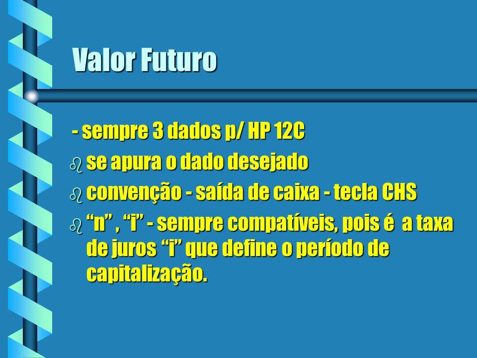 Valor Futuro - sempre 3 dados p/ HP 12C - sempre 3 dados p/ HP 12C b se apura o dado desejado b convenção - saída de caixa - tecla CHS b n, i - sempre
