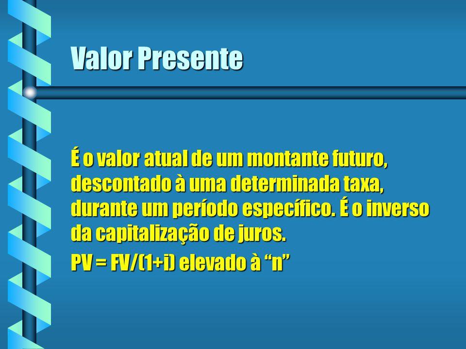 Valor Presente É o valor atual de um montante futuro, descontado à uma determinada taxa, durante um período específico. É o inverso da capitalização d