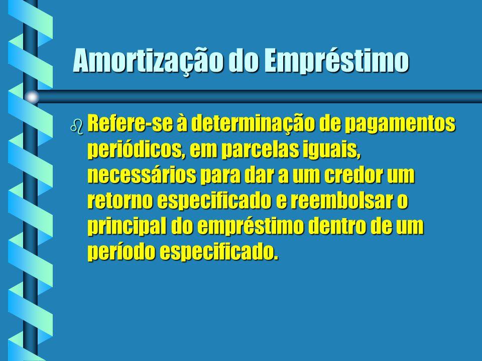 Amortização do Empréstimo b Refere-se à determinação de pagamentos periódicos, em parcelas iguais, necessários para dar a um credor um retorno especif