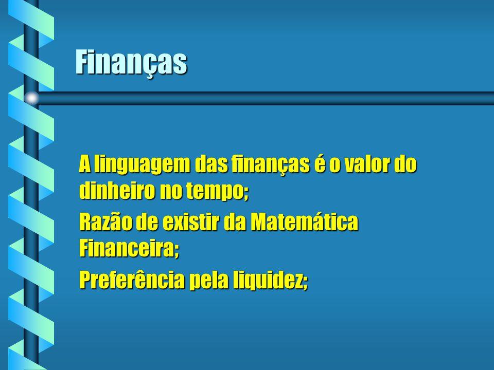 Denominações b P ou PV = Principal ou Valor Presente; b S ou FV = Montante ou Valor Futuro; b PMT = prestação b i = taxa de juros b n= período de tempo b J = valor dos Juros