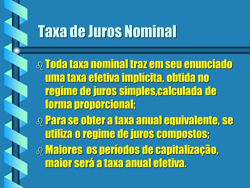 Taxa de Juros Nominal b Toda taxa nominal traz em seu enunciado uma taxa efetiva implícita, obtida no regime de juros simples,calculada de forma propo