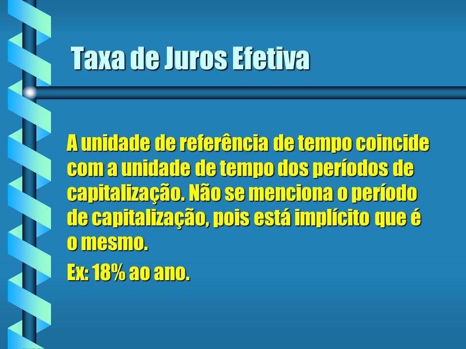 Taxa de Juros Efetiva A unidade de referência de tempo coincide com a unidade de tempo dos períodos de capitalização. Não se menciona o período de cap