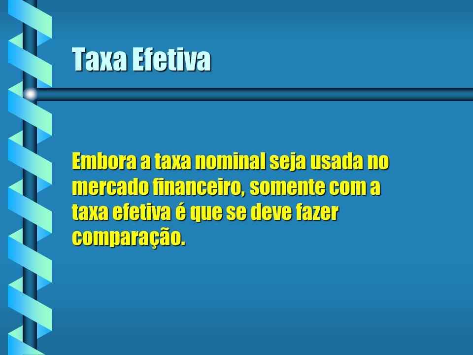 Taxa Efetiva Embora a taxa nominal seja usada no mercado financeiro, somente com a taxa efetiva é que se deve fazer comparação.