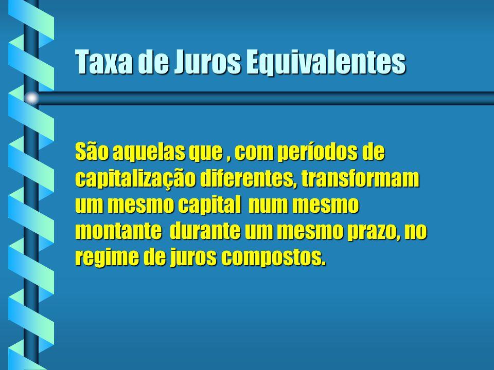 Taxa de Juros Equivalentes São aquelas que, com períodos de capitalização diferentes, transformam um mesmo capital num mesmo montante durante um mesmo