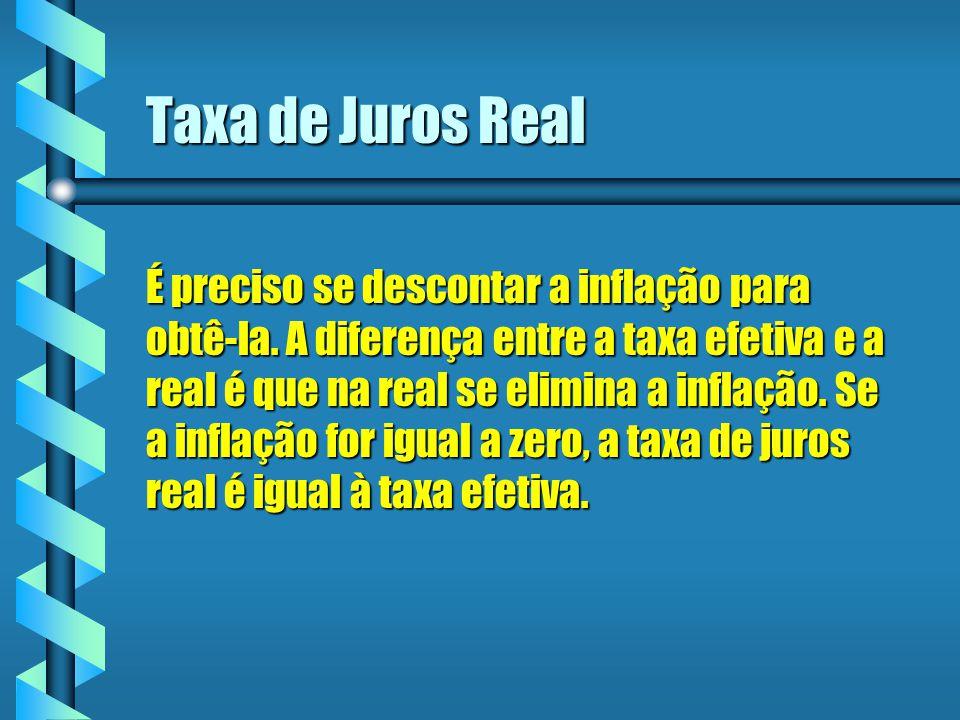 Taxa de Juros Real É preciso se descontar a inflação para obtê-la. A diferença entre a taxa efetiva e a real é que na real se elimina a inflação. Se a