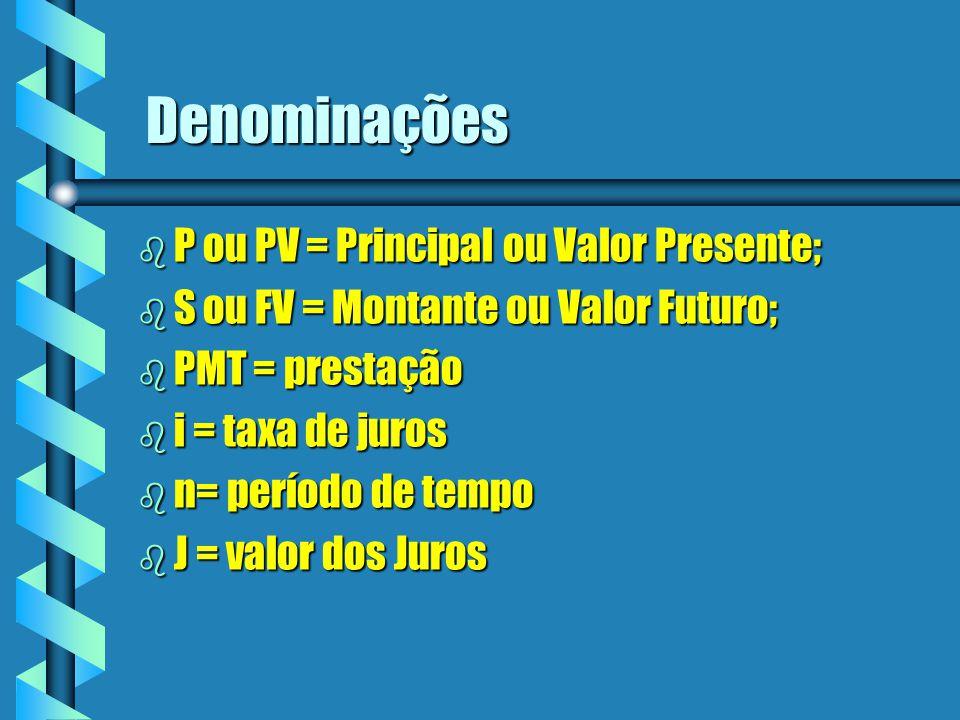 Denominações b P ou PV = Principal ou Valor Presente; b S ou FV = Montante ou Valor Futuro; b PMT = prestação b i = taxa de juros b n= período de temp