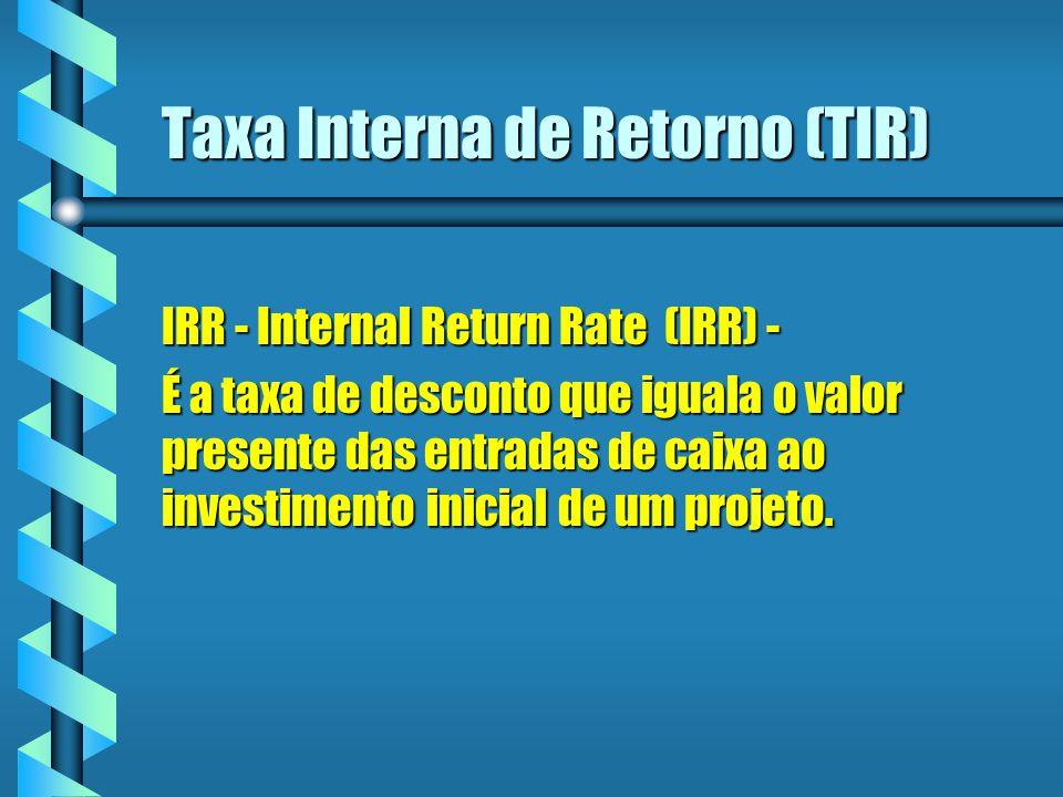 Taxa Interna de Retorno (TIR) IRR - Internal Return Rate (IRR) - É a taxa de desconto que iguala o valor presente das entradas de caixa ao investiment