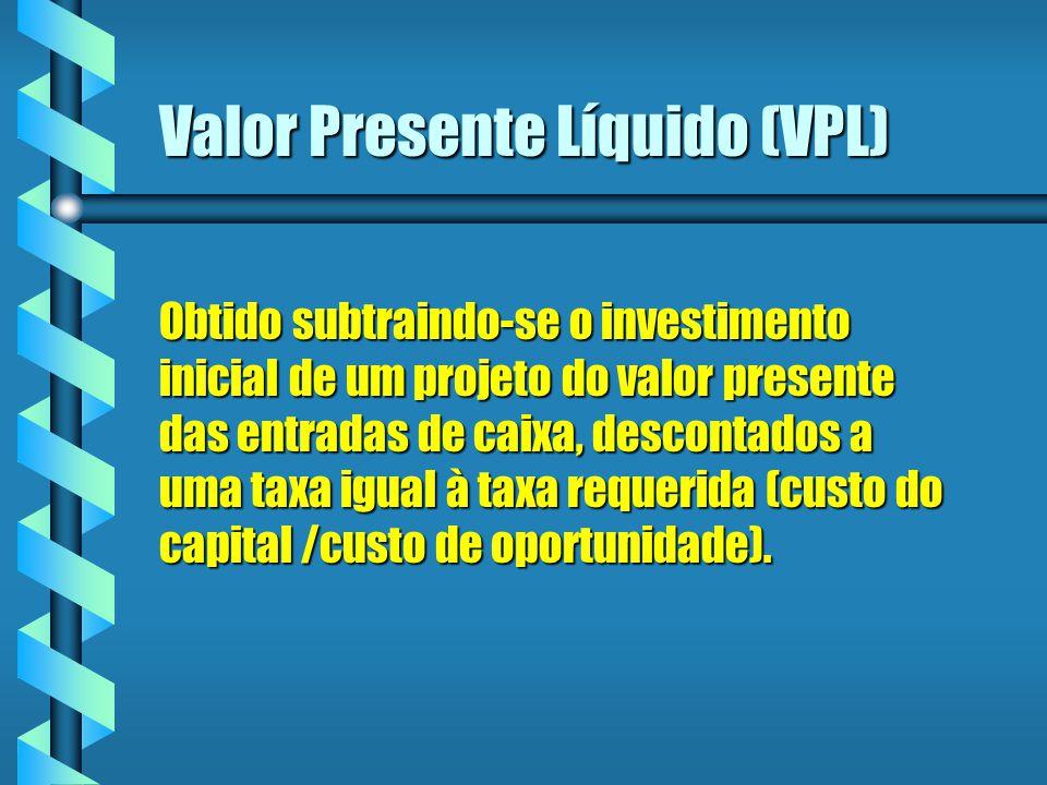 Valor Presente Líquido (VPL) Obtido subtraindo-se o investimento inicial de um projeto do valor presente das entradas de caixa, descontados a uma taxa