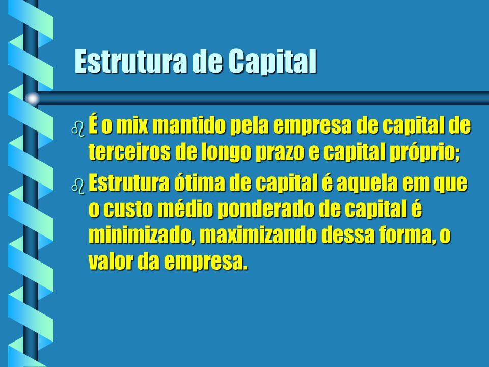 Estrutura de Capital b É o mix mantido pela empresa de capital de terceiros de longo prazo e capital próprio; b Estrutura ótima de capital é aquela em