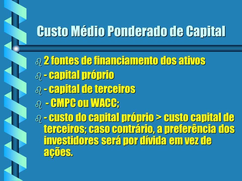 Custo Médio Ponderado de Capital b 2 fontes de financiamento dos ativos b - capital próprio b - capital de terceiros b - CMPC ou WACC; b - custo do ca