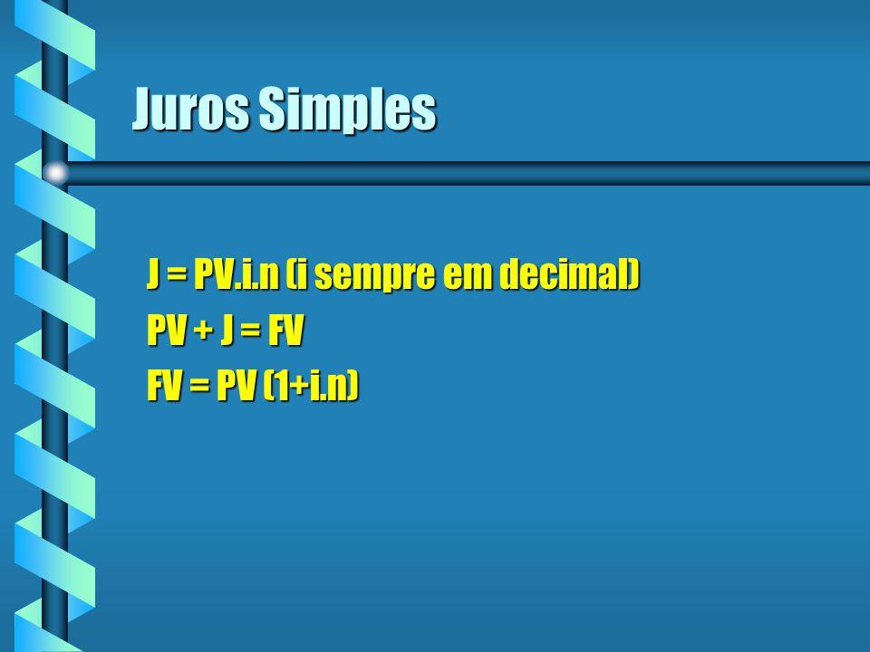 Juros Simples J = PV.i.n (i sempre em decimal) PV + J = FV FV = PV (1+i.n)