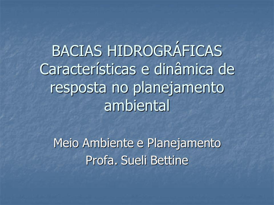BACIAS HIDROGRÁFICAS Características e dinâmica de resposta no planejamento ambiental Meio Ambiente e Planejamento Profa. Sueli Bettine