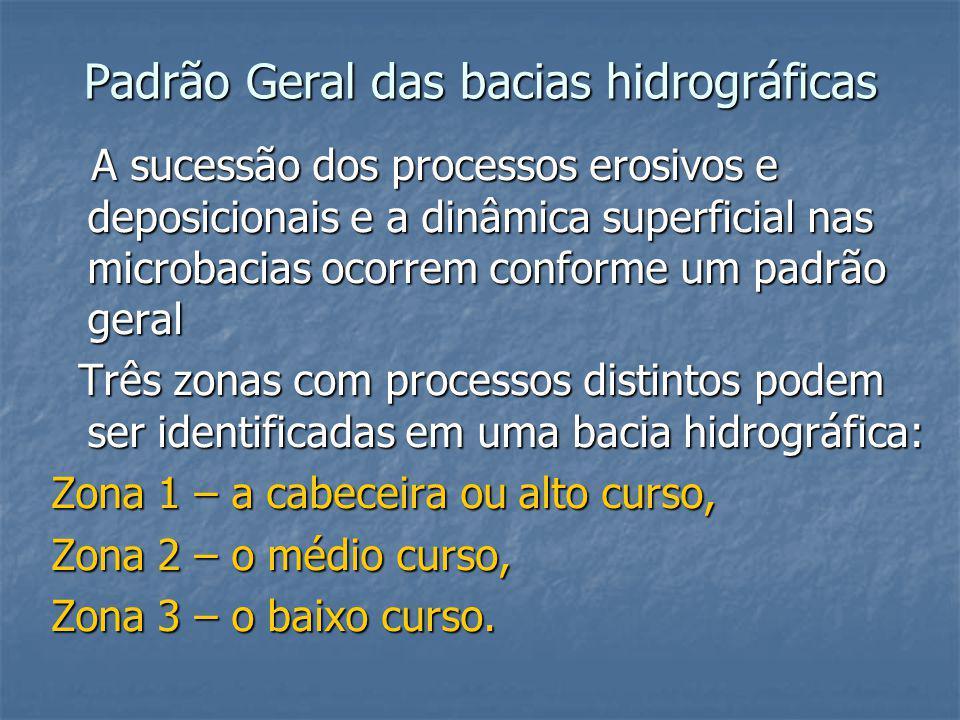 Padrão Geral das bacias hidrográficas A sucessão dos processos erosivos e deposicionais e a dinâmica superficial nas microbacias ocorrem conforme um p