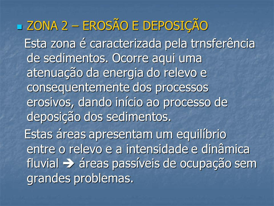 ZONA 3 – DEPOSIÇÃO ZONA 3 – DEPOSIÇÃO Esta porção da bacia hidrográfica é caracterizada pelo predomínio de processos deposicionais e pela atuação incipiente de processos erosivos.