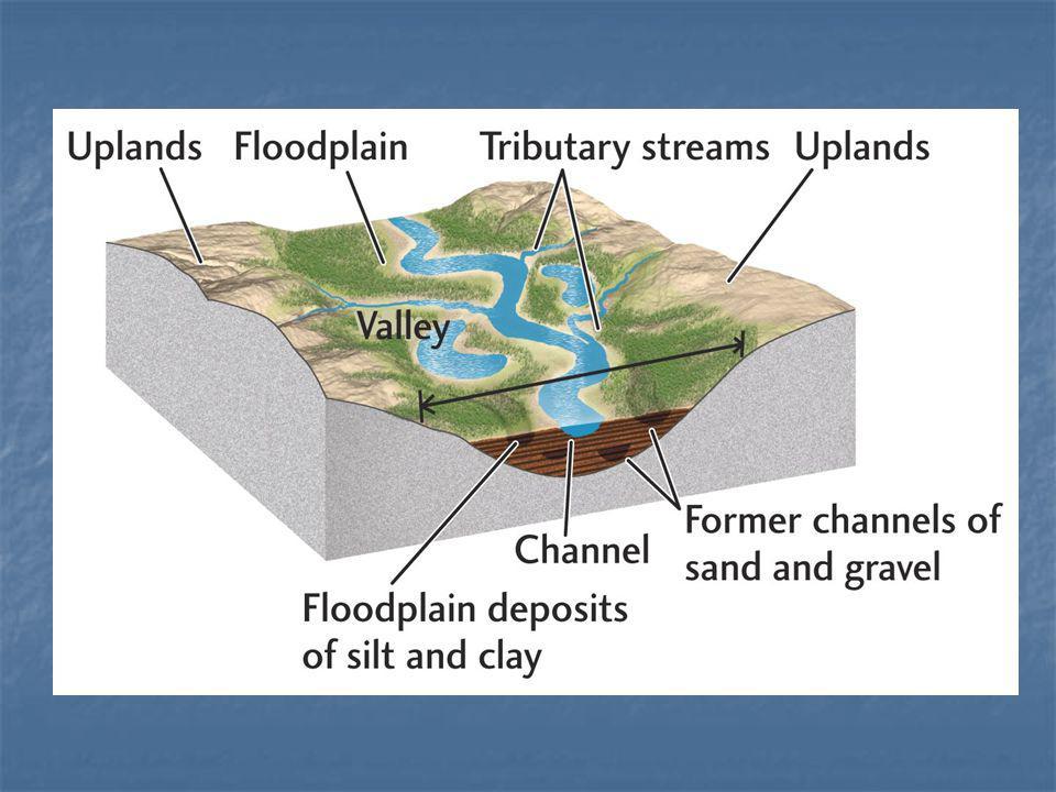 TERRAÇOS – são áreas situadas em posição elevada em relação ao curso dágua atual, não sendo recobertos nem mesmo no período de maiores enchentes.