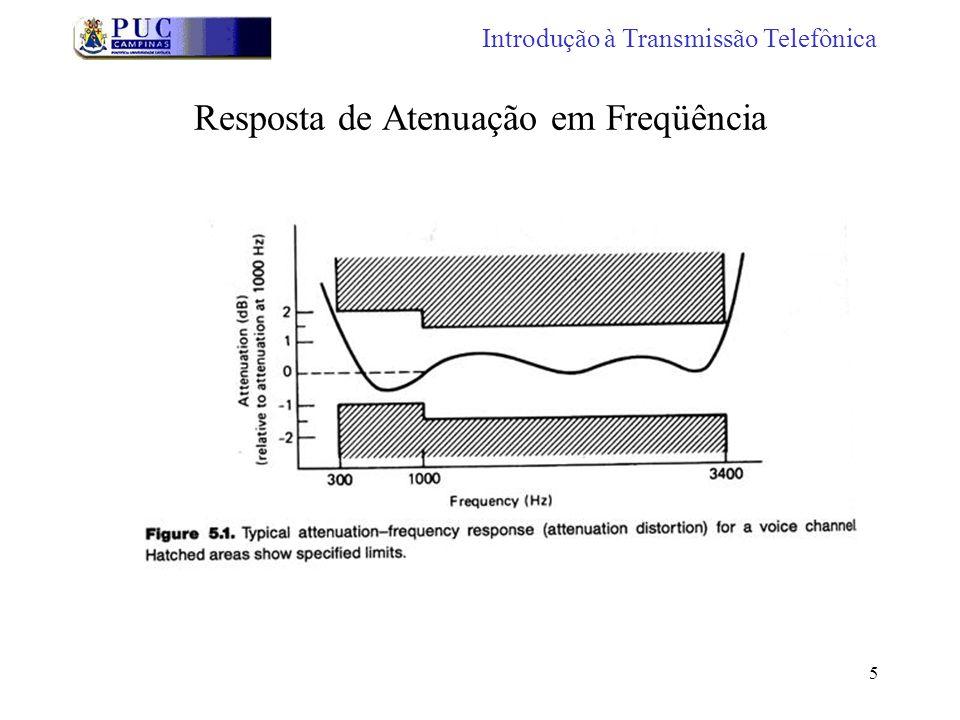 6 Resposta em Freqüência A ITU especifica 800 Hz como referência EUA especifica 1000 Hz como referência Europa - 600 a 2800 Hz com variação de -1 a +2 dB Observar que o sinal - significa menos atenuação e o sinal + significa mais atenuação Introdução à Transmissão Telefônica