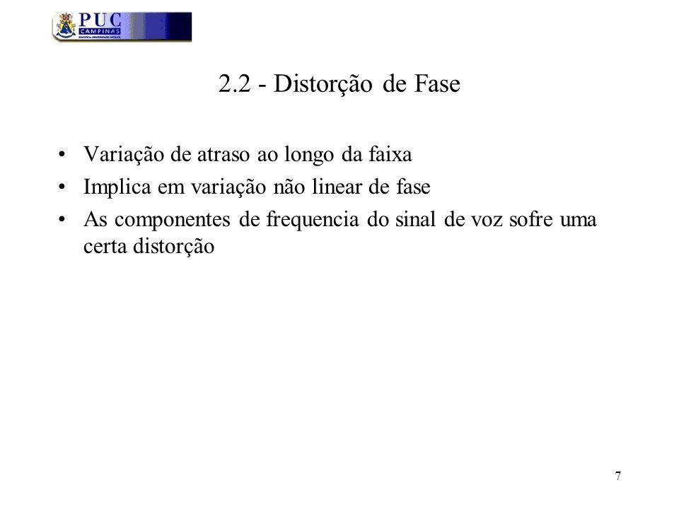7 2.2 - Distorção de Fase Variação de atraso ao longo da faixa Implica em variação não linear de fase As componentes de frequencia do sinal de voz sofre uma certa distorção