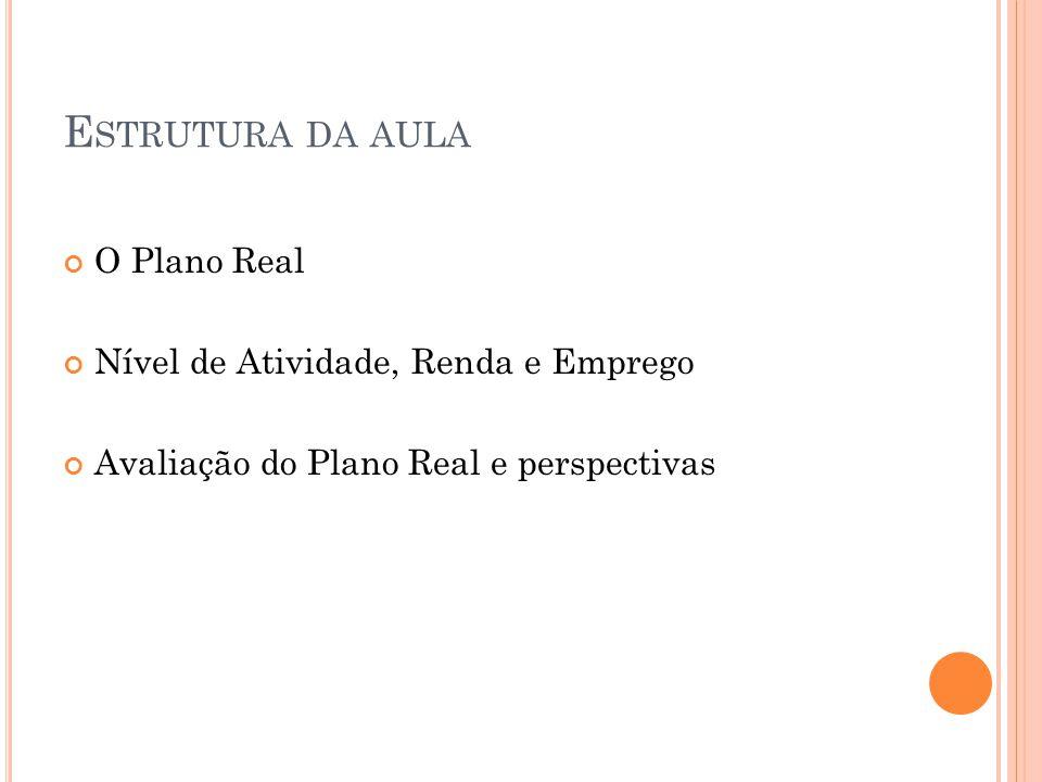 E STRUTURA DA AULA O Plano Real Nível de Atividade, Renda e Emprego Avaliação do Plano Real e perspectivas