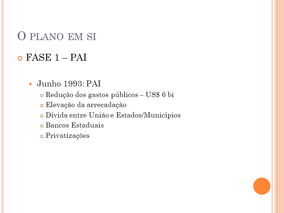 O PLANO EM SI FASE 1 – PAI Junho 1993: PAI Redução dos gastos públicos – US$ 6 bi Elevação da arrecadação Dívida entre União e Estados/Municípios Banc