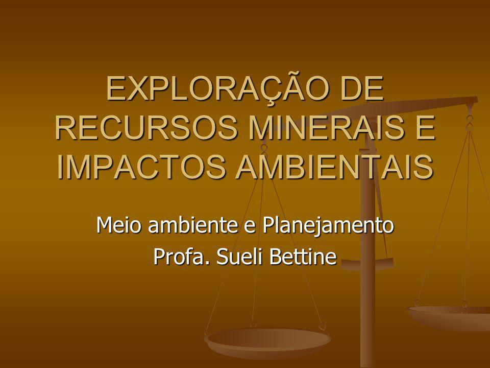 EXPLORAÇÃO DE RECURSOS MINERAIS E IMPACTOS AMBIENTAIS Meio ambiente e Planejamento Profa. Sueli Bettine