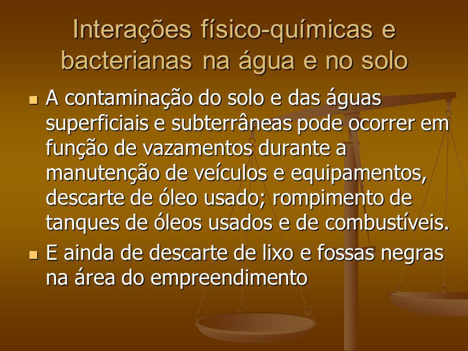 Interações físico-químicas e bacterianas na água e no solo A contaminação do solo e das águas superficiais e subterrâneas pode ocorrer em função de va