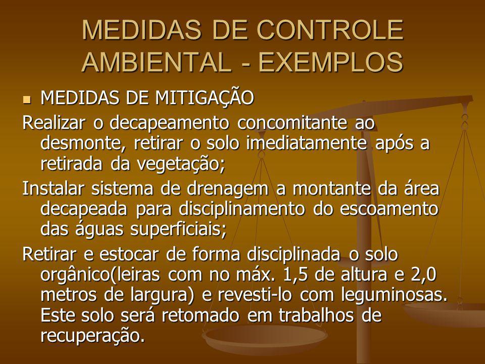 MEDIDAS DE CONTROLE AMBIENTAL - EXEMPLOS MEDIDAS DE MITIGAÇÃO MEDIDAS DE MITIGAÇÃO Realizar o decapeamento concomitante ao desmonte, retirar o solo im