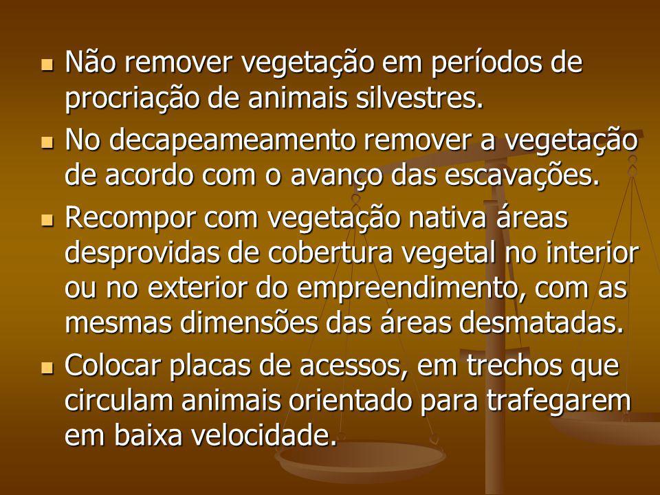 Não remover vegetação em períodos de procriação de animais silvestres. Não remover vegetação em períodos de procriação de animais silvestres. No decap