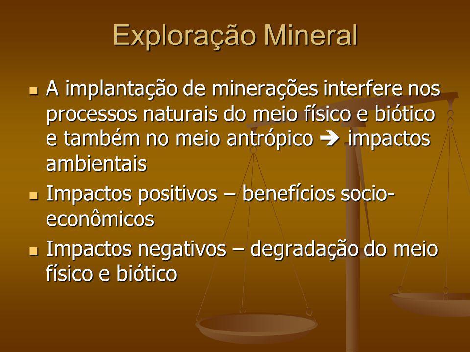 Exploração Mineral A implantação de minerações interfere nos processos naturais do meio físico e biótico e também no meio antrópico impactos ambientai