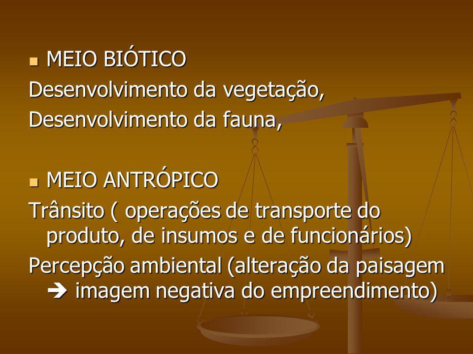 MEIO BIÓTICO MEIO BIÓTICO Desenvolvimento da vegetação, Desenvolvimento da fauna, MEIO ANTRÓPICO MEIO ANTRÓPICO Trânsito ( operações de transporte do