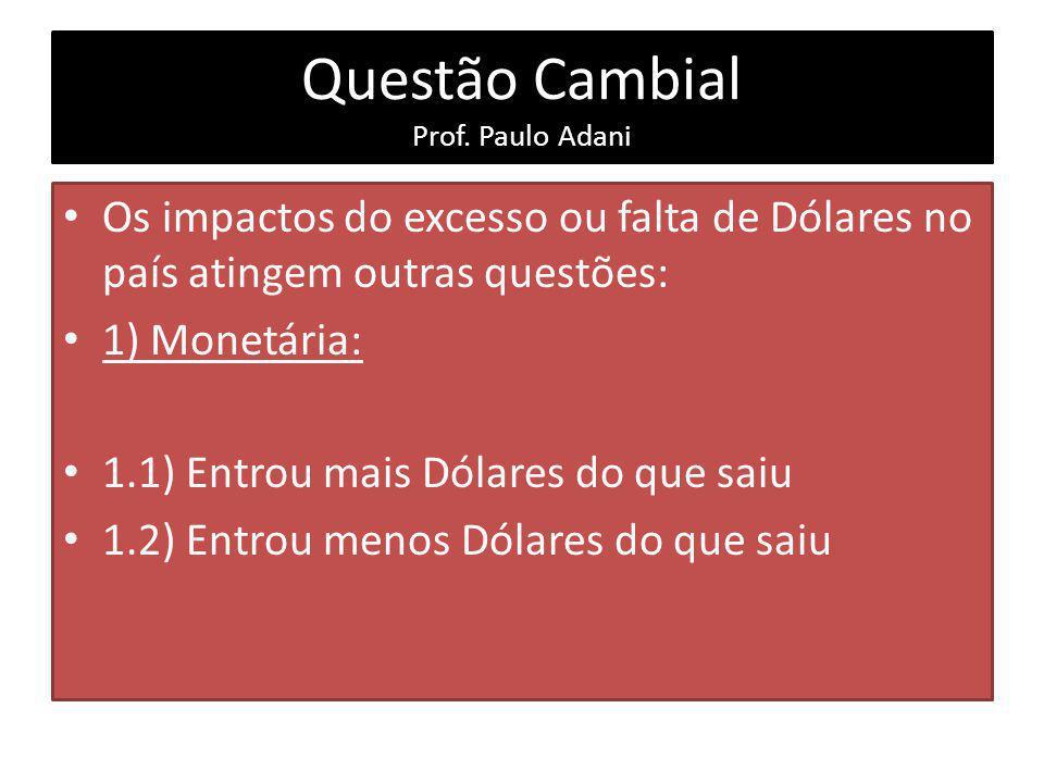 Questão Cambial Prof. Paulo Adani Os impactos do excesso ou falta de Dólares no país atingem outras questões: 1) Monetária: 1.1) Entrou mais Dólares d