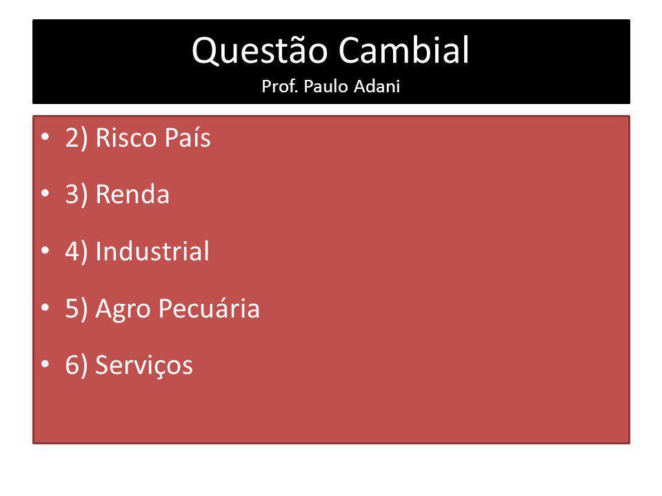 Questão Cambial Prof. Paulo Adani 2) Risco País 3) Renda 4) Industrial 5) Agro Pecuária 6) Serviços