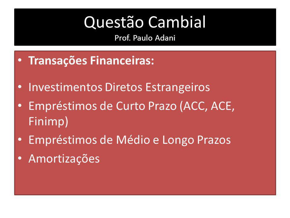 Questão Cambial Prof. Paulo Adani Transações Financeiras: Investimentos Diretos Estrangeiros Empréstimos de Curto Prazo (ACC, ACE, Finimp) Empréstimos
