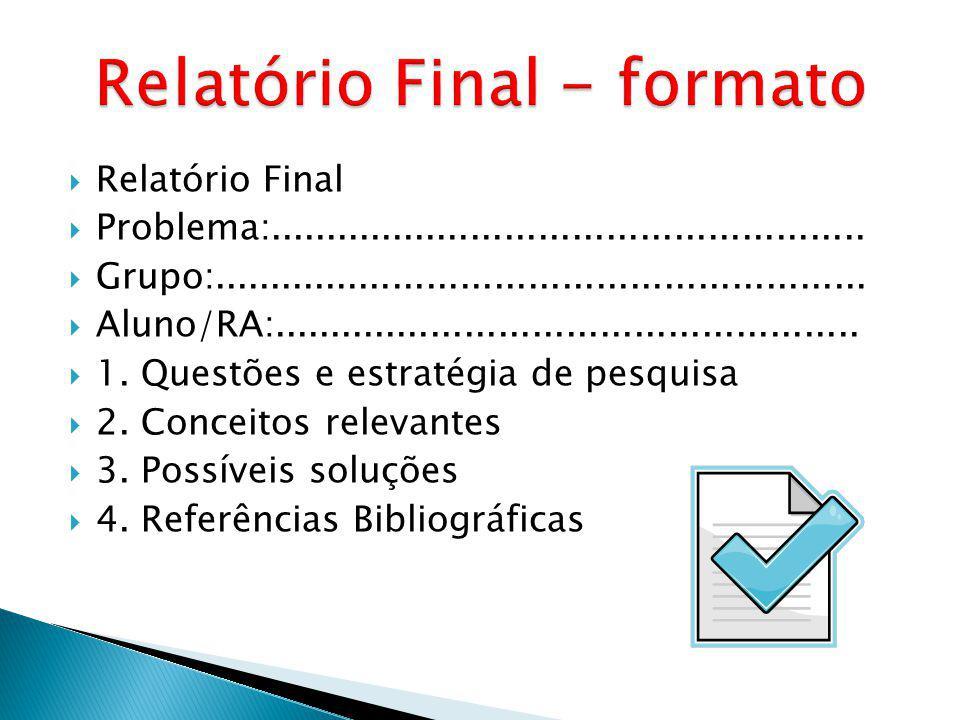 Relatório Final Problema:.....................................................