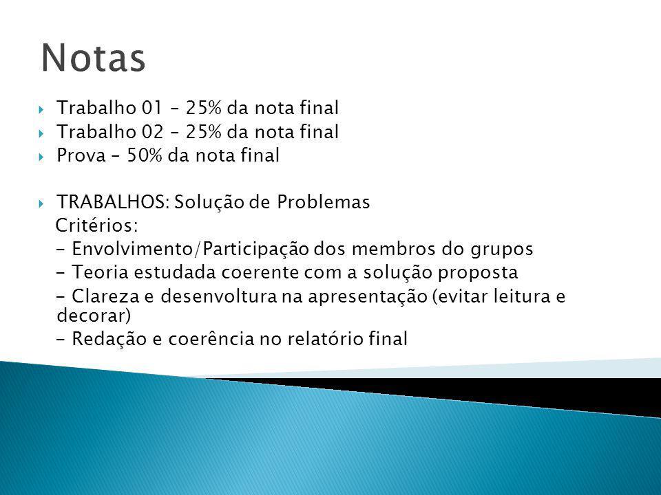 Notas Trabalho 01 – 25% da nota final Trabalho 02 – 25% da nota final Prova – 50% da nota final TRABALHOS: Solução de Problemas Critérios: - Envolvime