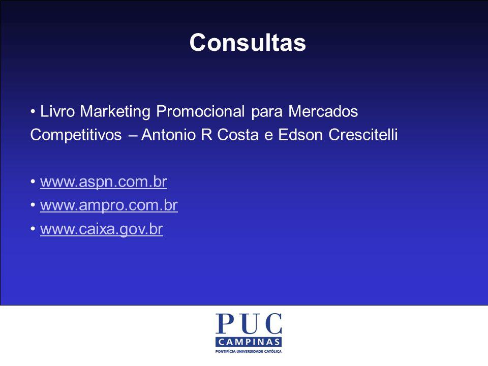 Consultas Livro Marketing Promocional para Mercados Competitivos – Antonio R Costa e Edson Crescitelli www.aspn.com.br www.ampro.com.br www.caixa.gov.