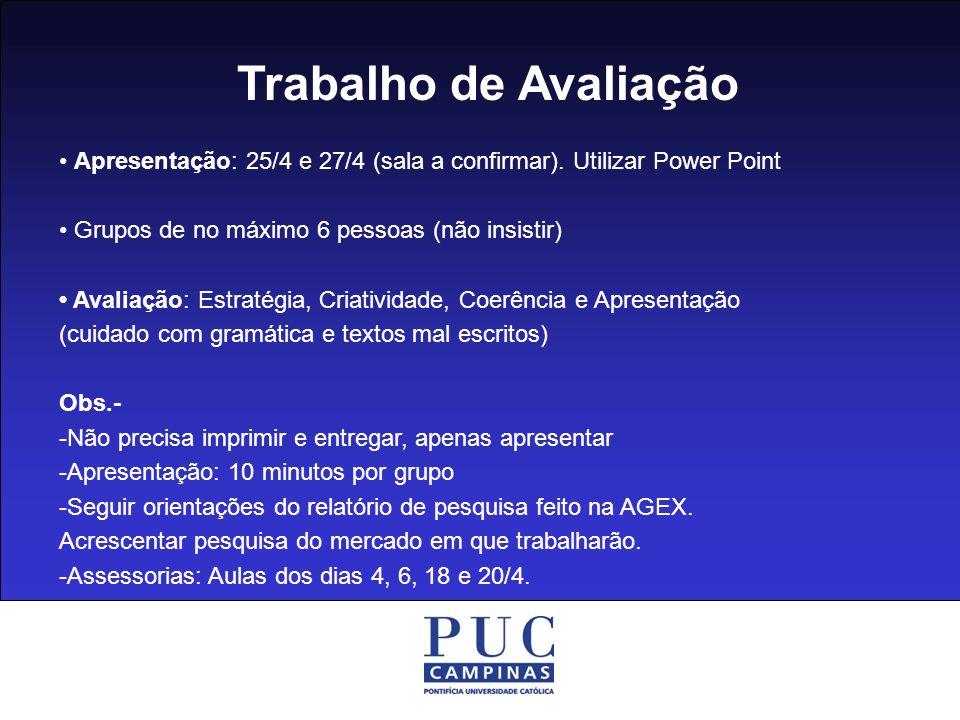 Trabalho de Avaliação Apresentação: 25/4 e 27/4 (sala a confirmar). Utilizar Power Point Grupos de no máximo 6 pessoas (não insistir) Avaliação: Estra