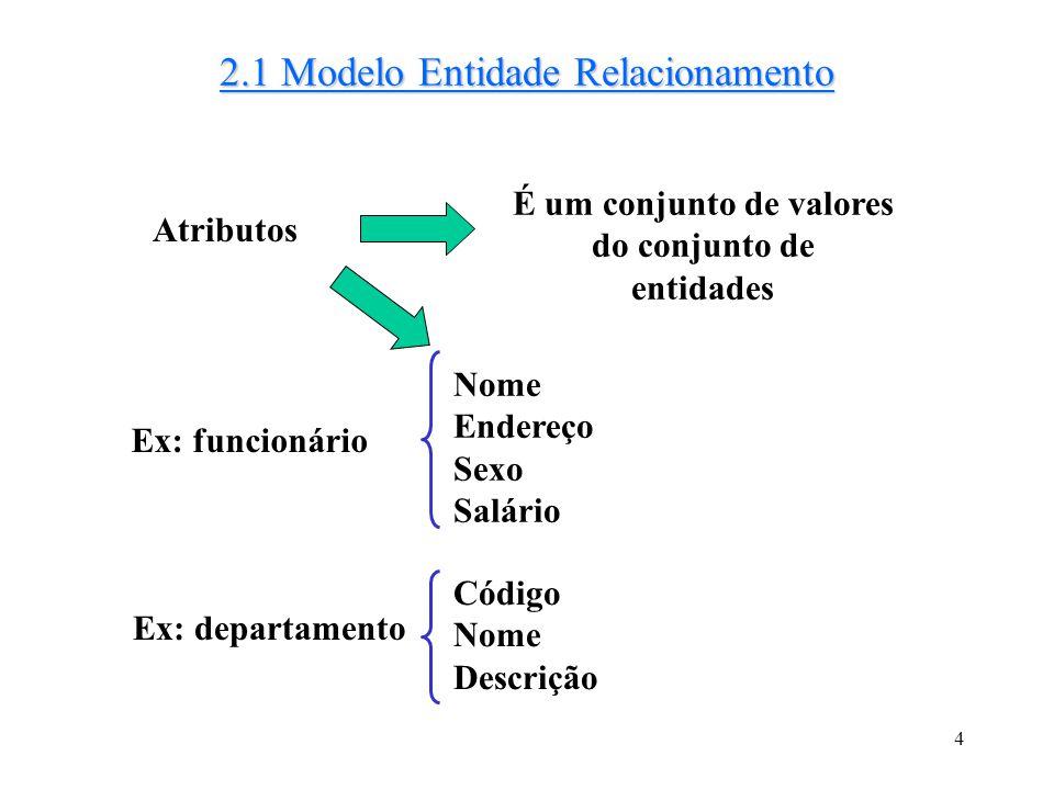 4 2.1 Modelo Entidade Relacionamento É um conjunto de valores do conjunto de entidades Atributos Ex: funcionário Nome Endereço Sexo Salário Ex: depart