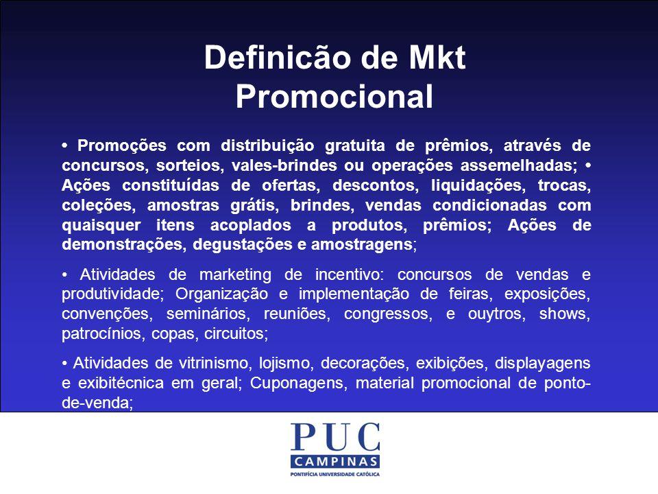 Definicão de Mkt Promocional Assessoria de imprensa e relações públicas; Marketing direto, DBM, CRM, telemarketing, call e contact center Marketing esportivo, cultural e social; Marketing de Relacionamento, endomarketing