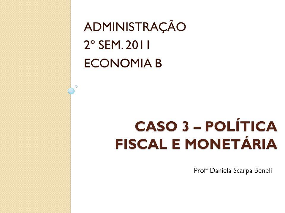 CASO 3 – POLÍTICA FISCAL E MONETÁRIA ADMINISTRAÇÃO 2º SEM. 2011 ECONOMIA B Profª Daniela Scarpa Beneli