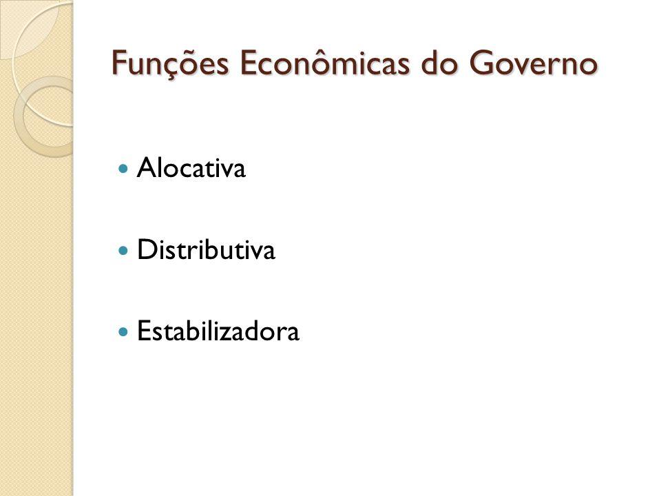 Funções Econômicas do Governo Alocativa Distributiva Estabilizadora