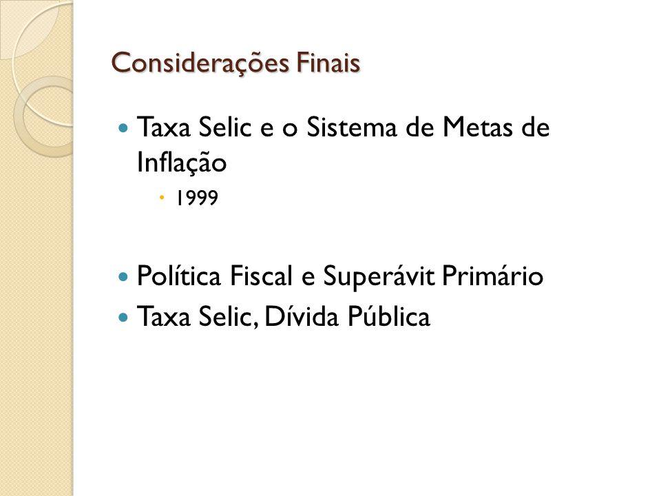 Taxa Selic e o Sistema de Metas de Inflação 1999 Política Fiscal e Superávit Primário Taxa Selic, Dívida Pública Considerações Finais