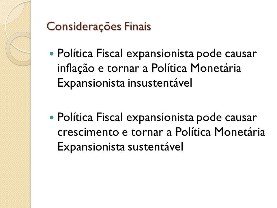 Política Fiscal expansionista pode causar inflação e tornar a Política Monetária Expansionista insustentável Política Fiscal expansionista pode causar