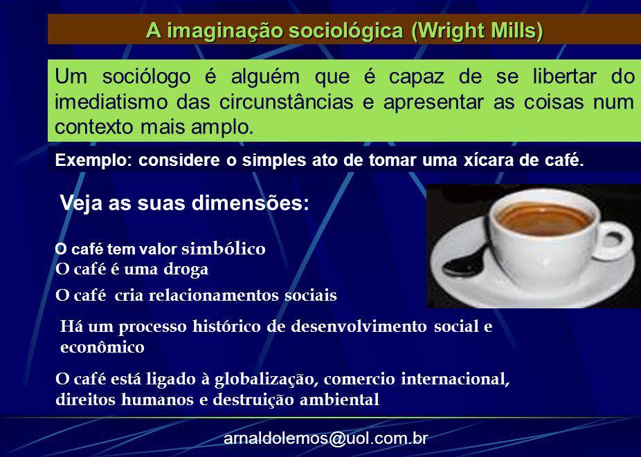 arnaldolemos@uol.com.br Exemplo: considere o simples ato de tomar uma xícara de café. A imaginação sociológica (Wright Mills) Um sociólogo é alguém qu