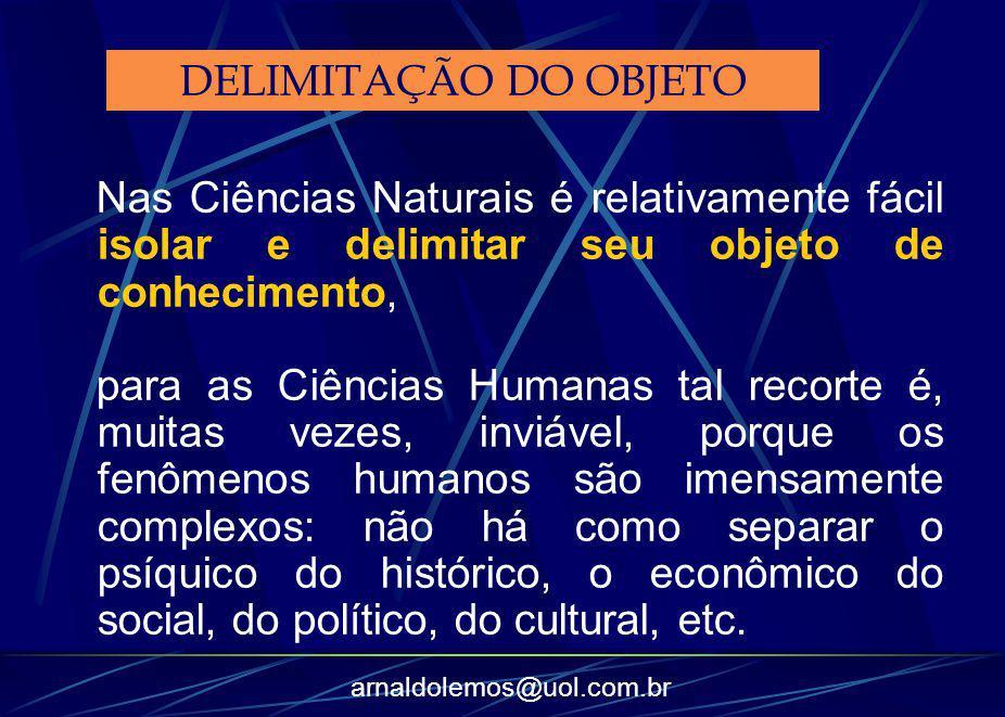 arnaldolemos@uol.com.br Nas Ciências Naturais é relativamente fácil isolar e delimitar seu objeto de conhecimento, para as Ciências Humanas tal recort
