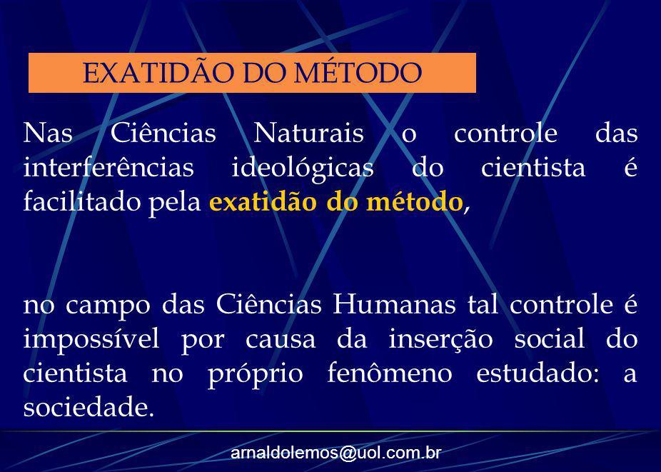 arnaldolemos@uol.com.br Nas Ciências Naturais o controle das interferências ideológicas do cientista é facilitado pela exatidão do método, no campo da