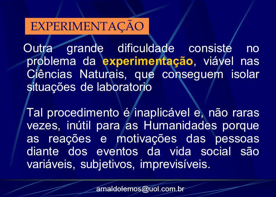 arnaldolemos@uol.com.br Outra grande dificuldade consiste no problema da experimentação, viável nas Ciências Naturais, que conseguem isolar situações